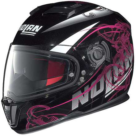 Casco N86 Bloom Nero Lucido N-Com Nolan