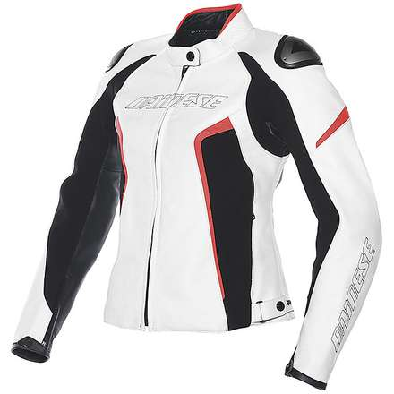 Leather jacket Racing D1 for lady white-black-red fluo Dainese