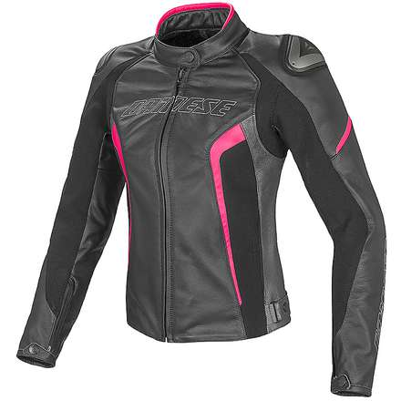 Leather jacket Racing D1 for lady black-anthracite-fuxia Dainese