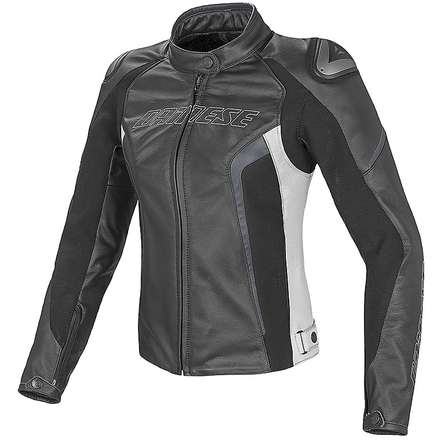 Leather jacket Racing D1 for lady black-white-anthracite Dainese