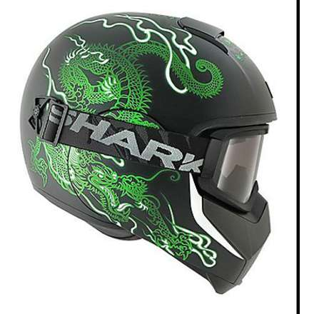 Vancore Ryu Mat Helmet black-green Shark