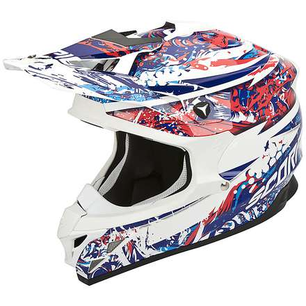 Helm VX-15 Evo Air Horror Weiss-Rot-Blau Scorpion