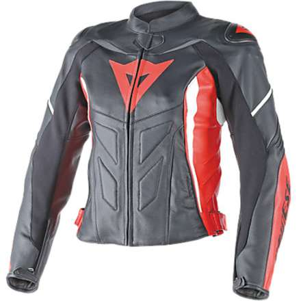 Giacca Donna pelle Avro D1 nero-rosso-bianco Dainese