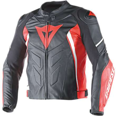 Giacca  pelle Avro D1 Nero-Rosso-Bianco Dainese