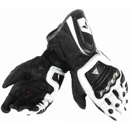 4-stroke Long white-black Gloves Dainese