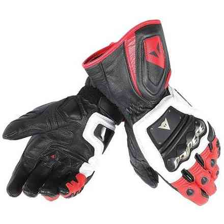 4-stroke Long white-red-black Gloves Dainese