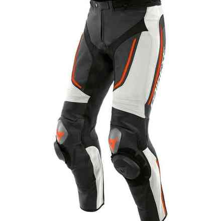 Alpha Perforated Leather Pants white black red fluo Dainese