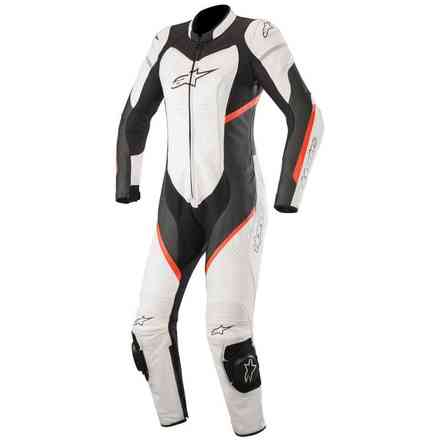 Alpinestars Stella Kira 1pc Trainingsanzug Leath Schwarz - Weiß - Fluo Red Alpinestars