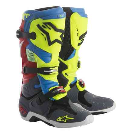 Alpinestars Tech 10 Boot Black Anthracite Blue Fluo Yellow Red Alpinestars