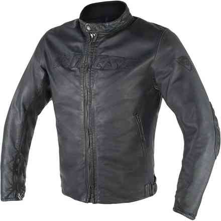 Archivio D1 leather perforated jacket Logo Dainese