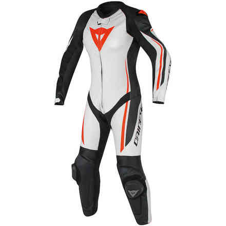 Assen 1 Pcs Perforated leather suit Lady white black red fluo Dainese