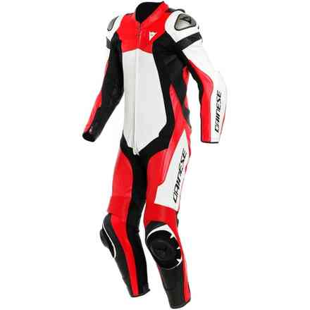 Assen 2 1 Pc. Perforated leather suit white lava red black Dainese