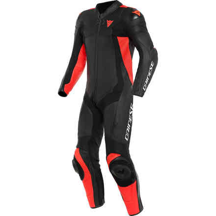 Assen 2 1 Pc. Perforated suit black red fluo Dainese
