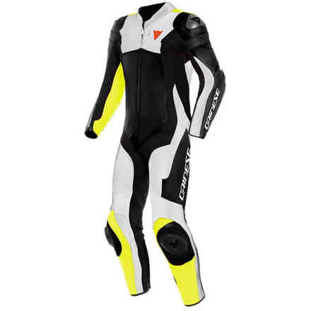 Assen 2 1 Pc. Perforated suit black white yellow fluo Dainese