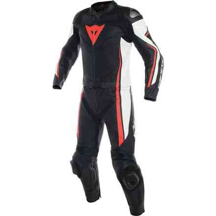Assen 2pcs leather suit black white red fluo Dainese