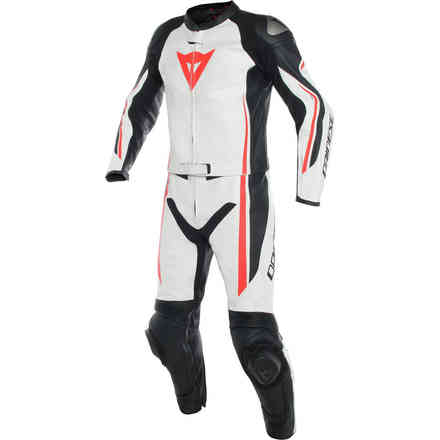 Assen 2pcs Perforated leather Suit black white red fluo Dainese