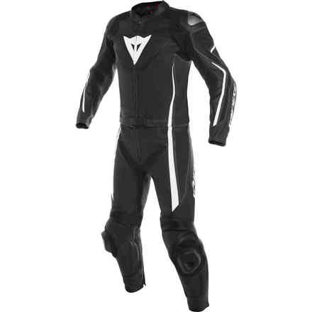 Assen 2pcs Perforated leather suit black white Dainese