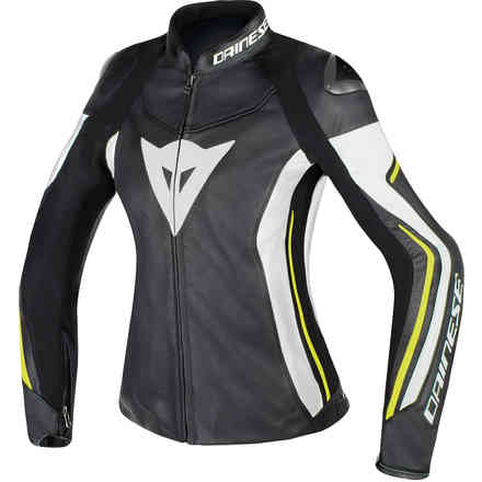 Assen Lady jacket black white yellow Dainese
