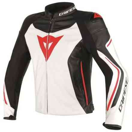 Assen leather black-white-red Jacket  Dainese