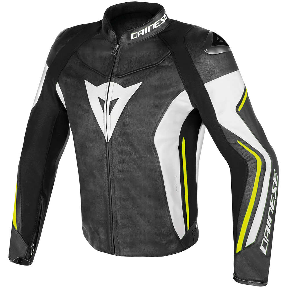 Assen perforated leather black-white-fluo yellow Jacket  Dainese