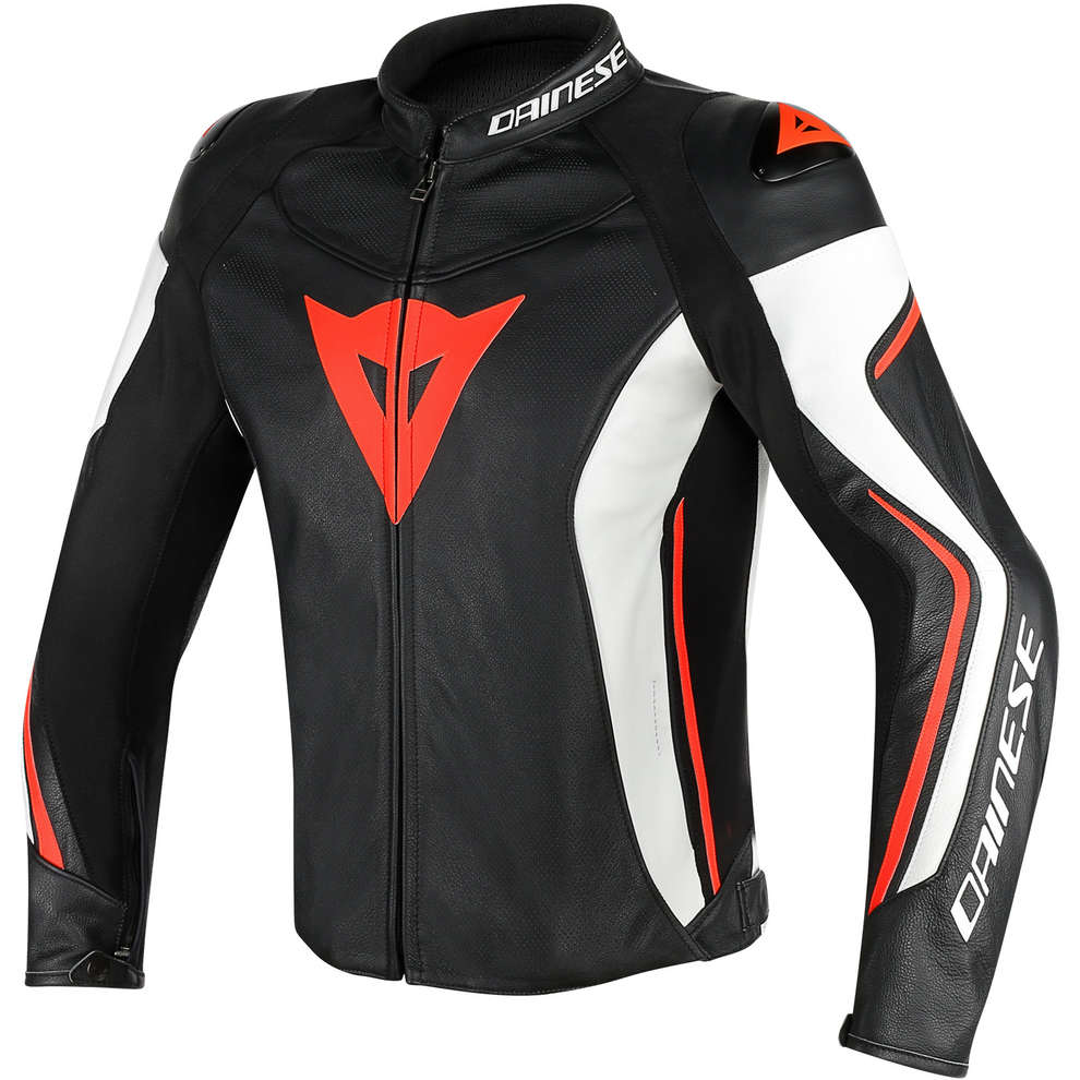 Assen perforated leather black-white-red Jacket  Dainese