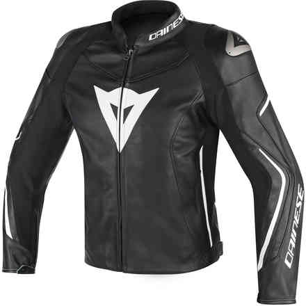 Assen perforated leather jacket black white Dainese