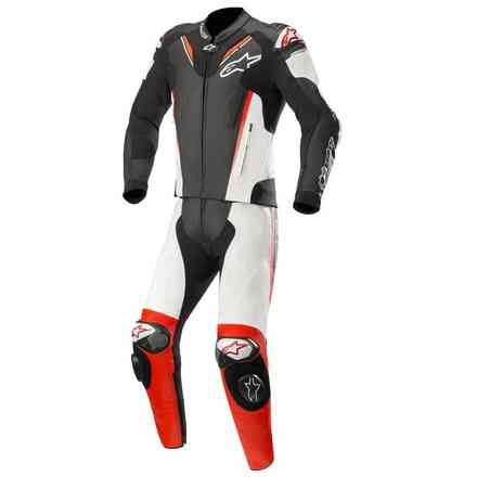 Atem V3 leather suit 2 Pieces black white red fluo Alpinestars