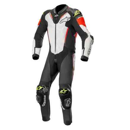 Atem V3 leather suit black-white-red fluo-yellow Alpinestars