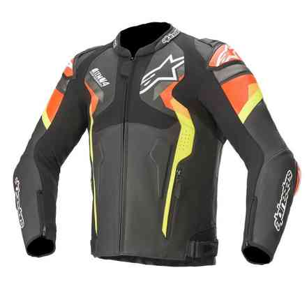 Atem V4 Leather jacket black red fluo yellow fluo Alpinestars