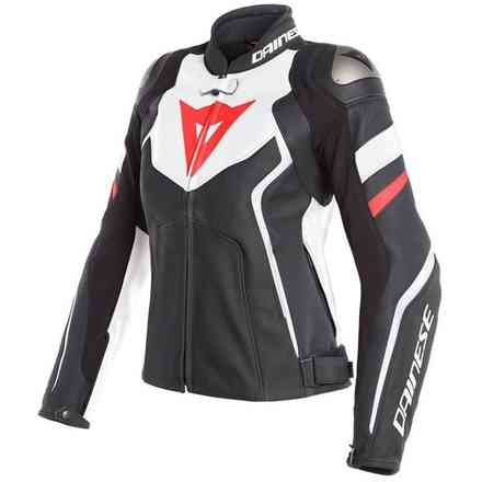 Avro 4 Lady Leather jacket black white red fluo Dainese