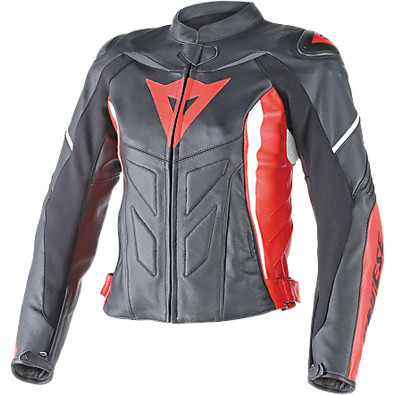 Avro D1 Lady leather Jacket black-red-white Dainese