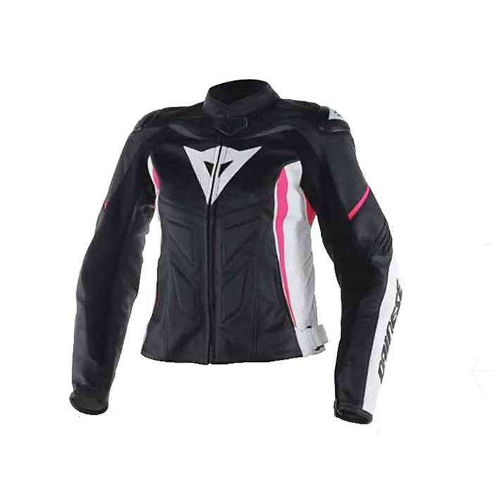Avro D1 Lady leather Jacket Black-White-Fuchsia Dainese