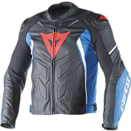 Avro D1  leather Jacket Black-Blue-White Dainese