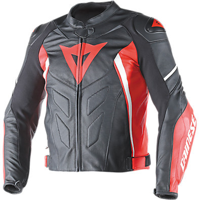 Avro D1  leather Jacket Black-Red-White Dainese