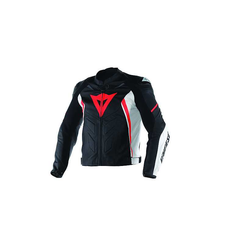 Avro D1  leather Jacket Black-White-Red Fluo Dainese