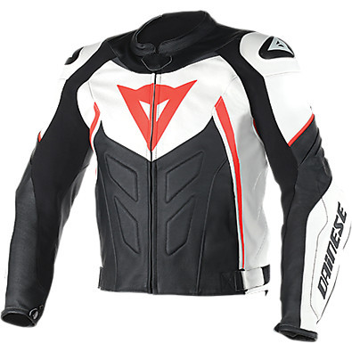 Avro D1  leather Jacket white-black-red fluo Dainese