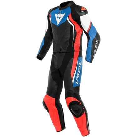 Avro D2 2 Pcs leather suit black light blue red fluo Dainese