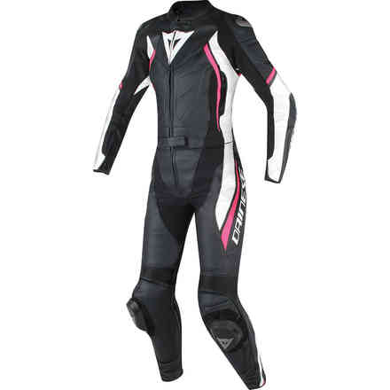 Avro D2 2pcs Lady leather suit black white fuxia Dainese