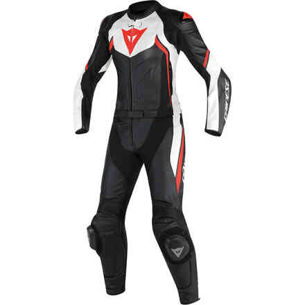 Avro D2 2pcs Lady leather suit black white red fluo Dainese
