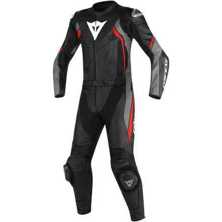 Avro D2 leather suit 2pc black-gray opaque-lava red Dainese