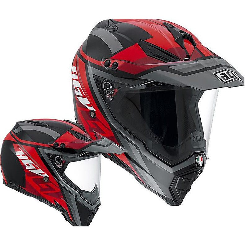 Ax-8 Dual Evo Karakum black-grey-red Helmet Agv