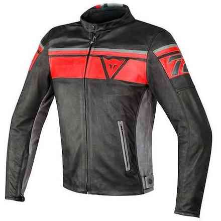 Blackjack leather Jacket perforated black red Dainese