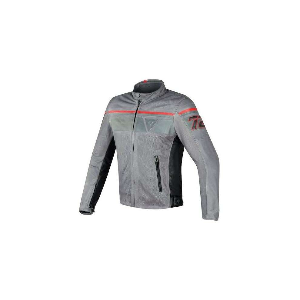 Blackjack leather Jacket perforated grey red Dainese