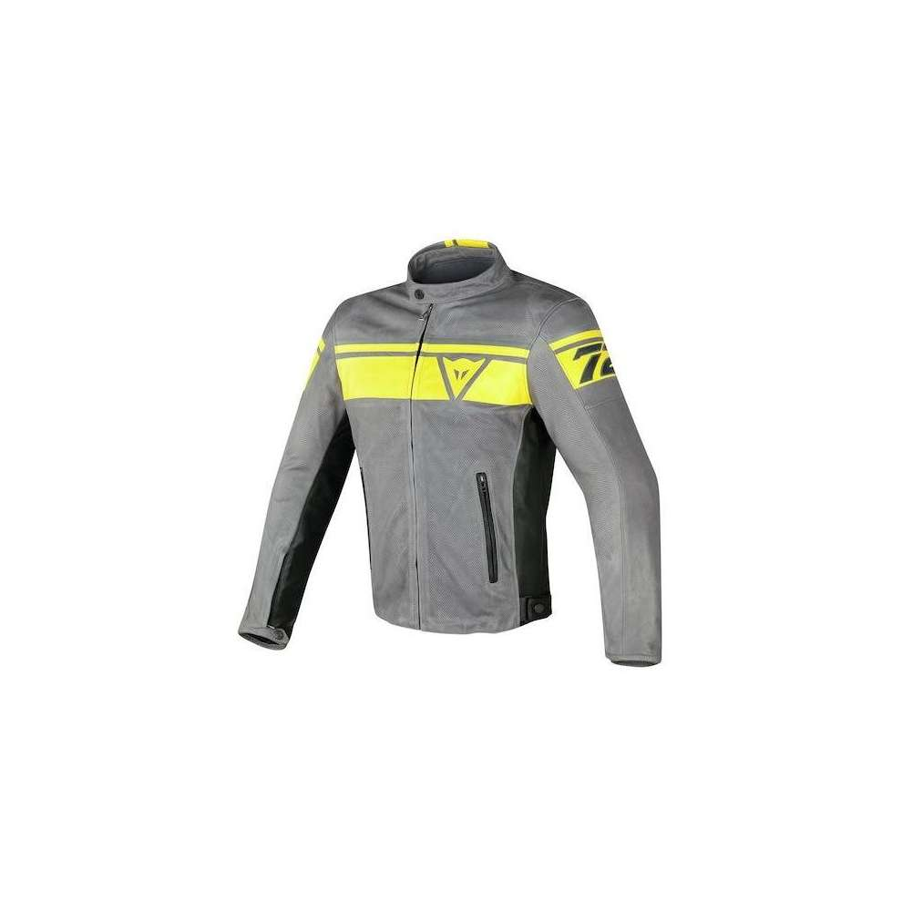 Blackjack leather Jacket perforated grey yellow Dainese