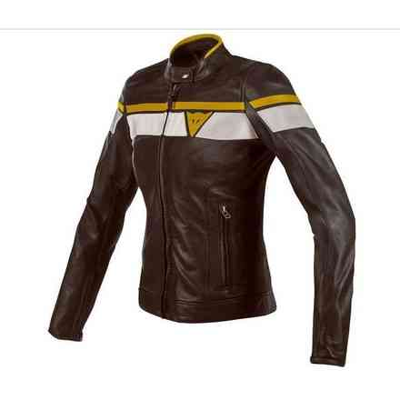 Blackjack leather woman Jacket brown grey yellow Dainese