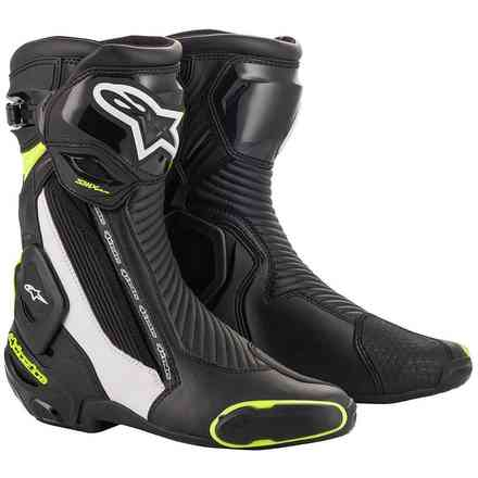 Boots Smx Plus V2 Black White Yellow Fluo Alpinestars