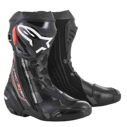 Boots Supertech R Black Dark Gray Red Fluo Alpinestars