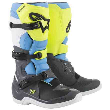 Boots Tech 3 Cool Gray Yellow Fluo Cyan Alpinestars