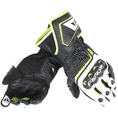 Carbon D1 long gloves black-white-yellow Dainese