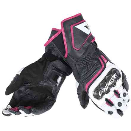 Carbon D1 long lady gloves black-white-fuchsia Dainese